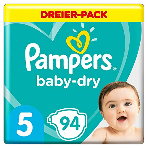 Pampers Baby-Dry Windeln, Gr. 5, 11kg-16kg, Dreier-Pack (1 x 94 Windeln)