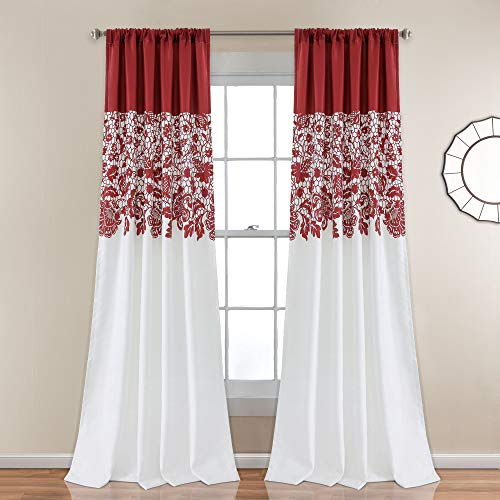 "Lush Decor 16T001375 Estate Garden Print Curtains Room Darkening Window Panel Set for Living, Dining, Bedroom (Pair), 84"" x 52"", Red"