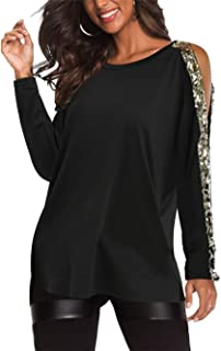 Cold Shoulder Long Sleeves Tops for Women Loose Casual Pullovers Cut Out Shirts Blouses