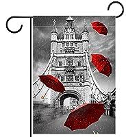 ウェルカムガーデンフラッグ(12x18inch)両面垂直ヤード屋外装飾,ロンドンブリッジ傘