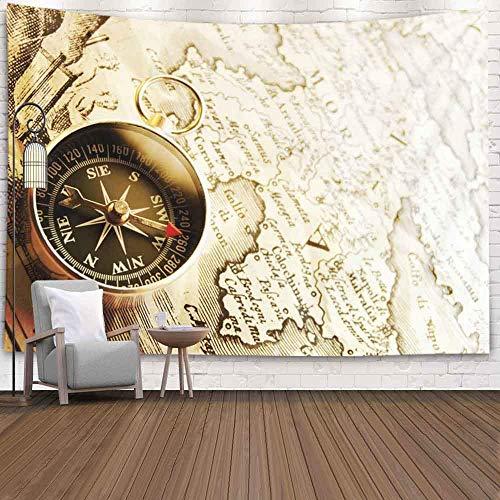 Tapiz del bosque de, tapiz Tapiz de Navidad Tapiz de pared de invierno Tapiz de ciervo para la sala de estar Tapiz de la naturaleza Brújula en el mapa vintage 1732 España y Portugal Autor Iohbapthoman