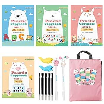 Upgraded Large Size Magic Practice Copybook for Kids Handwriting Practice Workbook Reusable Writing Practice Book for Preschools 4 Books with Pens -Pink Bag