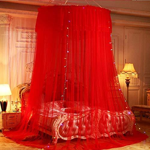 WLD klamboe voor bed, baldakijn, muggennet, koepel voor muggennet, 3-deurs voor eenpersoonsbed, tweepersoonsbed, hoogte van het kind: 280 cm, beige Rood