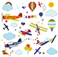 Vintage Airplanes Nursery Kids Room Peel & Stick Wall Art Sticker Decals for Babies Infants Toddlers