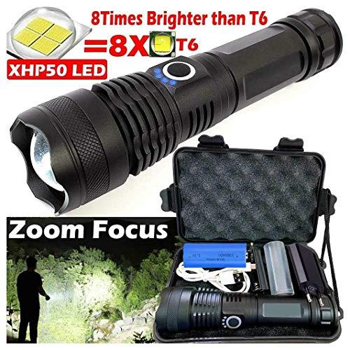 Fulltime Leistungsstarke 20W 900000 Lumen XHP50 Zoom-Taschenlampe, Aluminiumgehäuse (robust und schlagfest), 5 Modi (1x Taschenlampe + 18650 Batterie + EU-Stecker + US)