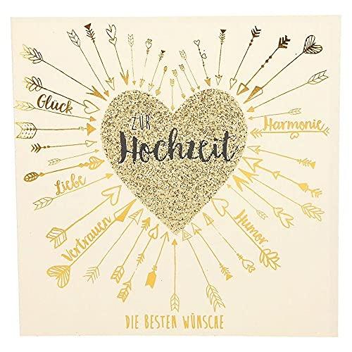 Depesche 8211.044 Glamour Glückwunsch-Karte zur Hochzeit, hochwertige Hochzeitskarte mit glitzernden Elementen, ohne Innentext, inkl. Umschlag, 15,5 x 15,5 cm