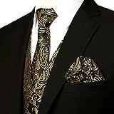 ZEROYAA Men's 3pc Paisley Jacquard Vest Set Necktie Pocket Square Set for Suit or Tuxedo ZLSV14 Gold Black XXX-Large