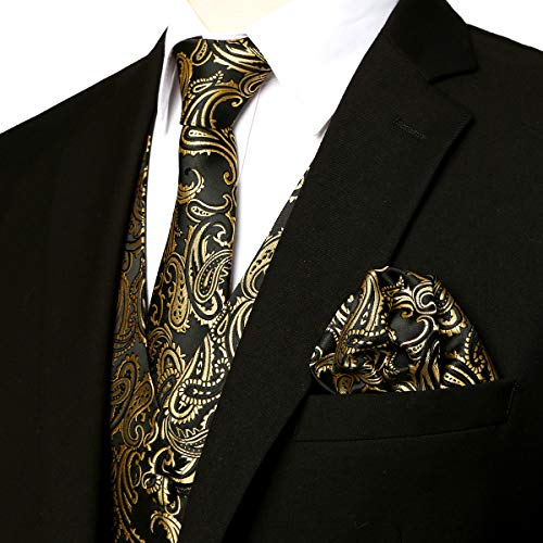 ZEROYAA Men's 3pc Paisley Jacquard Vest Set Necktie Pocket Square Set for Suit or Tuxedo ZLSV14 Gold Black Medium