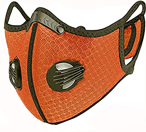 4sold Staubmaske Atemmaske Mesh Mundschutz Mundmaske 5-lagigem Filter Waschbar Staub Schutz Maske Ersatzfiltern Anti Pollen Allergie Mit Ventil Motorrad Radsport (Orange Hanging Ear)