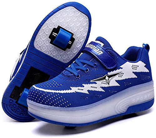 FJX LED Mode Turnschuhe Kinder Leuchten Schuhe Blink Trainer Rollschuh Schuhe Jungen Versenkbare Skateboard Schuhe,C-EU36