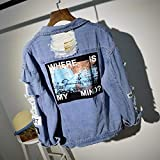 NZJK Where Is My MindFrayed Letter Patch Bomber Jeans Jacket Women Ripped Denim...