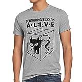 style3 Gato de Schrdinger Camiseta para Hombre T-Shirt Sheldon, Talla:S;Color:Gris Brezo