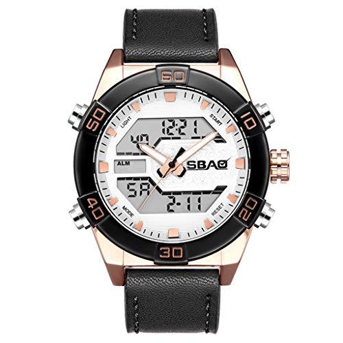 Carrymee Herren Uhren Gewindekrone herrenuhr sportlich 30 m Wasserdicht Sport Armbanduhr EL Hintergrundbeleuchtung hochwertiger umweltfreundlicher PU-Kunststoff Armband Watch (EIN)