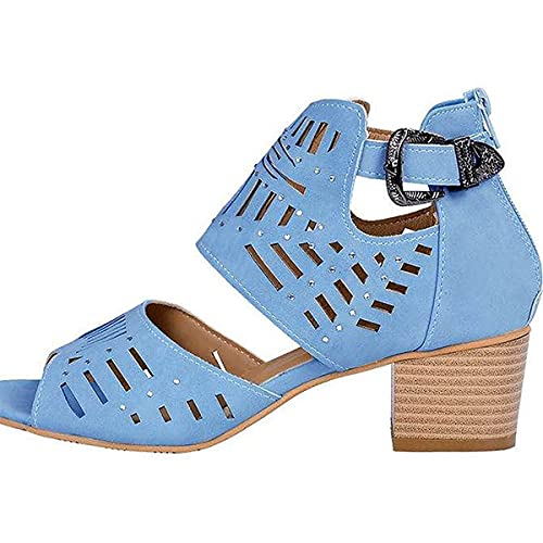 CHLDDHC Sandalias gruesas de tacón alto para mujer con cremallera trasera y diamantes de imitación, zapatos romanos