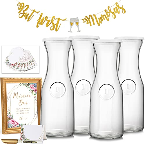 NETANY Mimosa Bar Supplies Kit - 4 Glass Carafe [1 Liter] with Lids, Mimosa Bar Sign, Table Cards, Label Tags and Gold Marker for Mimosa Bar, Bridal / Baby Shower and Brunch Decorations