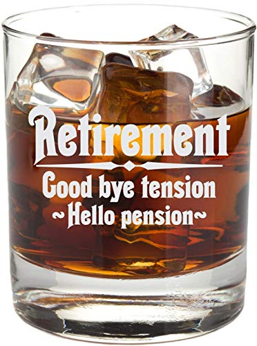Retirement Gift Whiskey Glass for Men, Goodbye Tension, Hello Pension Etched 11 oz Rocks Glass - RG16