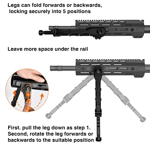 CVLIFE Rifle Bipod, 7.5-9 Inch Bipod for Rifle with Two Point Rifle Sling Adjustable Foldable Attach Directly Bipod