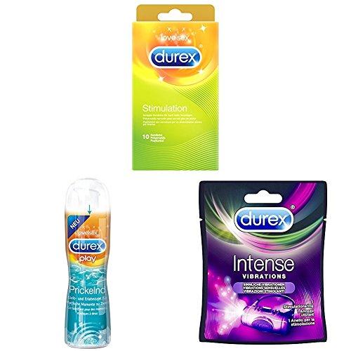 Durex Stimulation Kondome, gerippt für noch mehr Vergnügen, 10er Pack (1 x 10 Stück) + Prickelnd Gleit- und Erlebnisgel, 1er Pack (1 x 50 ml) + Vibrations Penisvibratorring (1 x 1 Stück)