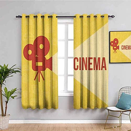 LWXBJX Opacas Cortinas Dormitorio - Cámara amarillo letras estilo europeo y americano. - Impresión 3D Aislantes de Frío y Calor 90% Opacas Cortinas - 280 x 260 cm - Salon Cocina Habitacion Niño Modern