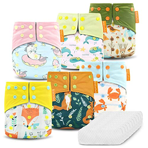 HyAdierTech Pañales Lavables de Tela, 6 Pcs Pañales Lavables de Bambú para Bebé, y 10 Inserciones Ajustado pañal de Tela, Pañales Ajustable y Reutilizable para Bebés, Lavables a máquina