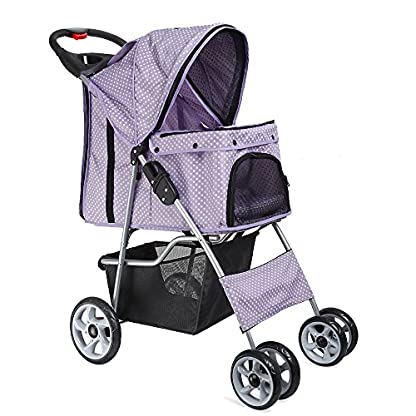 Flexzion Pet Stroller Dog Cat Small Animals Carrier Cage 4 Wheels Folding Flexible Easy Walk For Jogger Jogging Travel Up To 30 Pounds With Rain Cover Cup Holder And Mesh Window 1 Dot Purple 1