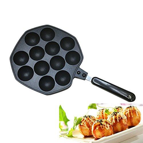 KOLARK Takoyaki Pfanne, Nonstick Guss Aluminiumlegierung Backblech Takoyaki Maker, 12 Löcher (2)