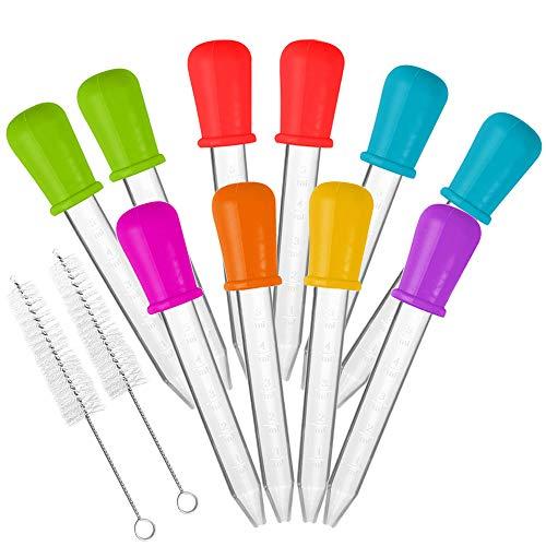 AIFUDA 10 Stck Flüssige Tropfer & 2 Bürsten FDA genehmigt Silikon und Kunststoff Pipetten mit Zwiebelspitze zum Süßigkeiten Gummiartig Bär Formen Gelatine Hersteller - Oils Science, 7 Farben
