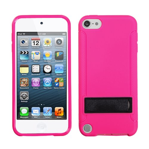 Fits Apple iPod Touch 5 (5th Generation) Soft Skin Case Solid Black/Solid Hot Pink (With Stand) Gummy (does NOT fit iPod Touch 1st, 2nd, 3rd or 4th generations)