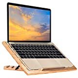 Wood Laptop Stand, wishacc Bamboo 5 Adjustable Angle Ventilated Stand - Ergonomic Riser Portable Computer Holder for MacBook Pro, Lenovo,All Notebooks,Pads