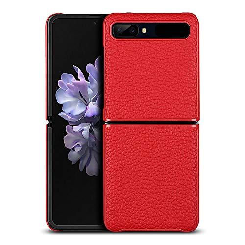 Case Fold Leer voor Samsung Galaxy Z Flip Opvouwbaar Scherm Slim Fit Schokbestendig Zakelijk Beschermhoes,Red,Galaxy Z Flip