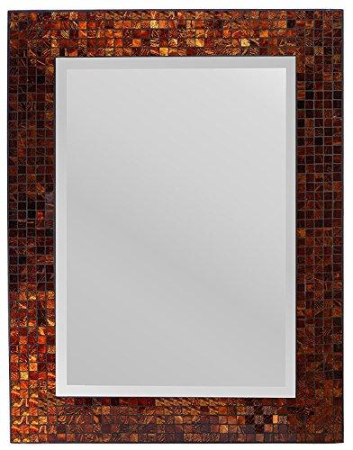 Lulu Decor, Decorative Handmade Amber Rectangle Mosaic Beveled Wall Mirror, Frame Measures -