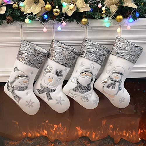 Bstaofy Traditional Christmas Stockings Set of 4 Santa Reindeer Snowman Penguin with 3D Tech, 18'' (Style 3)