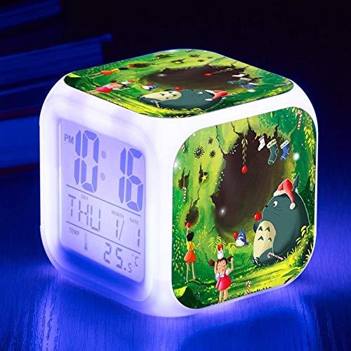 Yyoutop Sehr schöne Totoro Farbwechsel Digital Wecker für Kinder Geburtstagsgeschenk Desktop Nacht Wecker Sieben-Farben-Flash Digital Wecker Nachtlicht