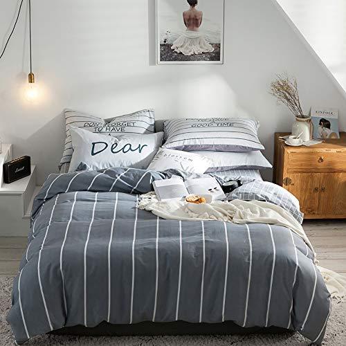 Bradoner Cuatro Piezas, línea Blanca Gris, algodón Simple, Kit de impresión Activa, Ropa de Cama, Ropa de Cama for el Dormitorio * 2 / Edredón/Funda de Cama (Size : A)