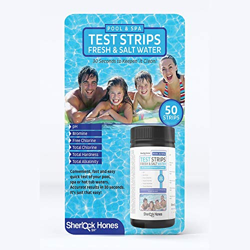 Sherlock Hones Swimming Pool Test Strips - Hot Tub, Spa & Pool Fresh & Salt Water 6-n-1 Accurate Test Strips! Test Your pH, Bromine, Free Chlorine, Total Chlorine, Total Hardness, Total Alkalinity