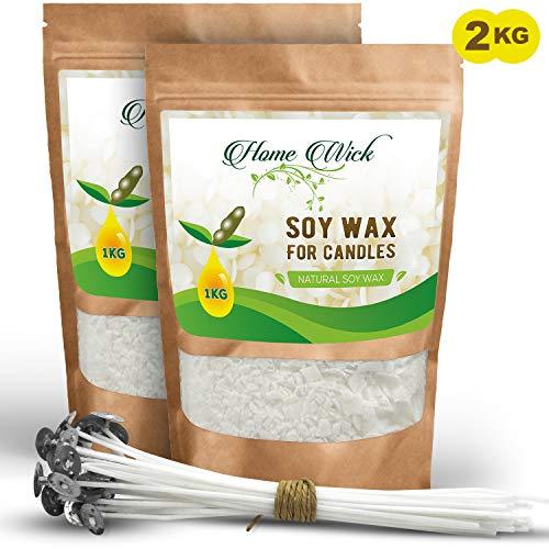 HomeWick Cera para Velas 100% Natural Vegetal Soja Libre de OGM 3 KGS para la fabricación artesanal de velas caseras. Guía completa + 15 mechas gratis