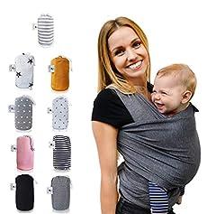 Fastique Kids® Handdoek - elastische draagzak voor premature en pasgeborenen incl. Baby Wrap Carrier Instructies - kleur grijs *