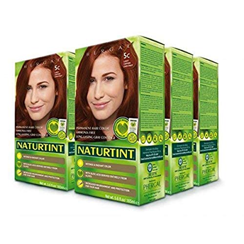 Naturtint Permanent Hair Color 5C Light Copper Chestnut (Pack of 6), Ammonia Free, Vegan, Cruelty Free, up to 100% Gray Coverage, Long Lasting Results