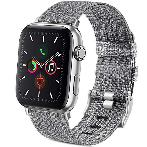 Wanme Nylon Intrecciato Cinturino di Ricambio per Apple Watch 38mm 40mm 42mm 44mm, con Fibbia in Acciaio Inossidabile, Cinturinui in Tessuto Compatibile con iWatch SE Serie 6/5/4/3/2/1