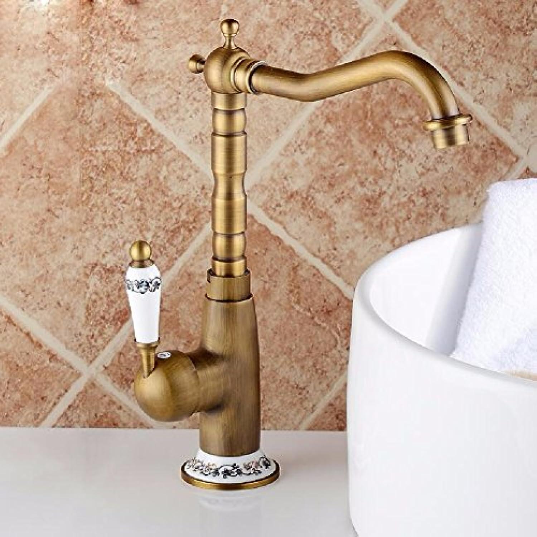 MMYNL TAPS MMYNL Waschtischarmatur Bad Mischbatterie Badarmatur Waschbecken Antike Antique-Brass heie und kalte Drehung Badezimmer Waschtischmischer