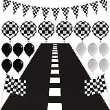 Set de Favor de Fiesta de Coche de Carreras Incluye Piso de Pista de Carreras de 9,8 Feet de Largo y Bandera de Banderín de 6,6 Feet y 2 Banderas a Cuadros Blanco y Negro con 16 Globos