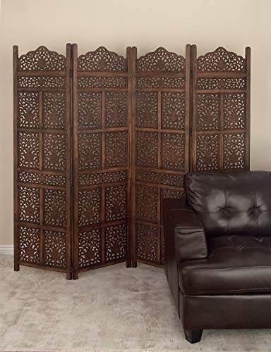"""Deco 79 23782 Large 4-Panel Brown Wood Screen Decorative Room Divider, 80"""" x 72"""""""
