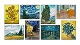 LuxHomeDecor Cuadros Vincent Van Gogh 8 piezas 40 x 30 cm Impresión sobre lienzo con marco de madera Decoración Arte Decoración Moderno