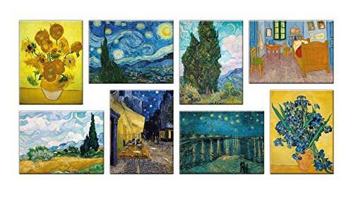 LuxHomeDecor Quadri Vincent Van Gogh 8 Pezzi 40x30 cm Stampa su Tela con Telaio in Legno Arredamento Arte Arredo Moderno