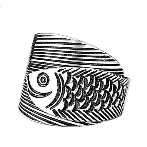 ZiFei Anillo, Plata de Ley 990 Totem Fish Anillo Ajustable Unisex Animal Retro Trendy Punk Fiesta Aniversario Padre Joyería Vintage
