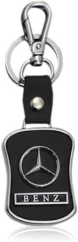 Iktu Key Chain for Mercedes Benz Car Bike Black Leather Keychain Key Ring with Hook (Mercedes Benz)