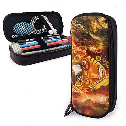 Estuche de piel para lápices, organizador de bolígrafos duradero para estudiantes escolares, bolsa para adolescentes, niños, Naruto de nueve colas Demon Fox