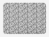 ABAKUHAUS Béisbol Tapete para Baño, Boceto de Estilo Guante Bat, Decorativo de Felpa Estampada con Dorso Antideslizante, 45 cm x 75 cm, Blanco Negro