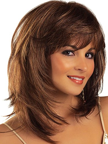 Auflaund Fashion Bob Middle Length Straight Layered Brown Hair Wigs for Women Cosplay + Wig Cap