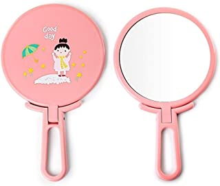 YXZQ Makeup Mirror, Pink Mini Portable Handheld Adjustable Free-Standing Make Up Mirror Cosmetic Travel Compact Pocket Mirror (Color : Pink)